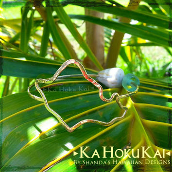Oahu Island Shape Bangle Sterling Silver, Hawaii Bangle