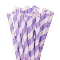 Paper 7.75-Inch Drinking Straws - Lavender Stripes: 25-Piece Pack