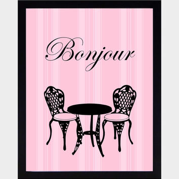Paris Themed Wall Art Prints Black on Vintage Pink Background Art Print CUSTOMIZE YOUR COLORS 8x10 Prints Nursery Decor Baby Room Decor Kids
