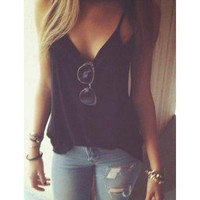 Sexy Spaghetti Strap Solid Color Low-Cut Tank Top For Women