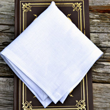 White Linen Handkerchief, Irish Linen Handkerchief, White Pocket Square, Formal Pocket Square, Linen Pocket Square, Linen Hankerchief,