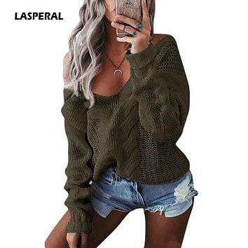 LASPERAL 2018 New Fashion Women Cable Knit Sweaters Pullovers Casual Loose Autumn Winter Sexy V Neck Twist Knitwear Jumpers 2XL