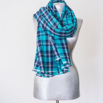 Blanket Scarf - CottonScarf - Turquoise  Scarf - Winter Autumn Scarf - Men Women Unisex XXL Scarf Handmade Plaid Scarf