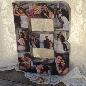 Wedding Engagement Bridal Pet Personalized Custom Photo Picture Paper Mache Letter Collage 3D all sides any letter of the Alphabet