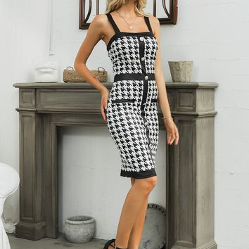 Glamaker Houndstooth Print Button Front Crisscross Back Dress