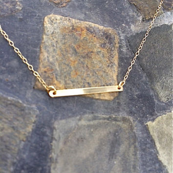 Thin 14kt Gold filled or Sterling Silver filled Bar Necklace: delicate, dainty, minimalist, modern, simple