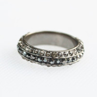 Vintage Silver Marcasite Rhinestone Band Ring