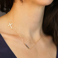 New Arrival Gift Shiny Jewelry Stylish Simple Design Cross Rack Handcrafts Crystal Double-layered Necklace [7298070215]