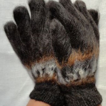 Warm and comfortable, 100% ALPACA wool, hand knitted carded gloves