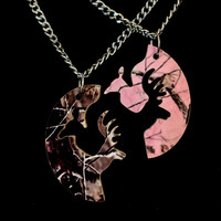 Camo Buck & Doe Interlocking Necklace