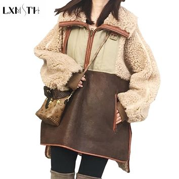 LXMSTH 2018 Thick Winter Lambswool Jacket Fashion Suede Patchwork Faux Fur Coat Woman Long`full Elegant Loose Jacket Women Plus