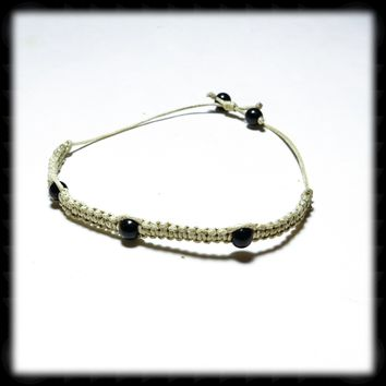 Micro Macrame Adjustable Size Bracelet with Black Agate Accent Beads