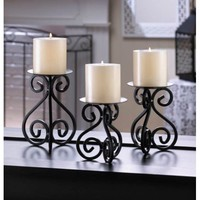 Black Iron Pillar Candle Holders Set