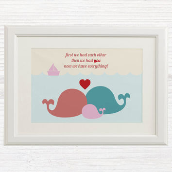 Baby Girl Wall Art Printable - Nursery Decor Art - Pink - Whale Family - First we had eachother then we had you now we have everything