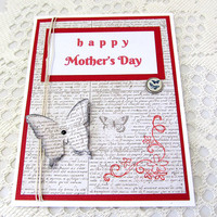 Mother's Day Card - Happy Mother's Day - Red Mother's Day Card - Newsprint Card - Red Card - Butterfly Card - Blank Card - Card for Mom
