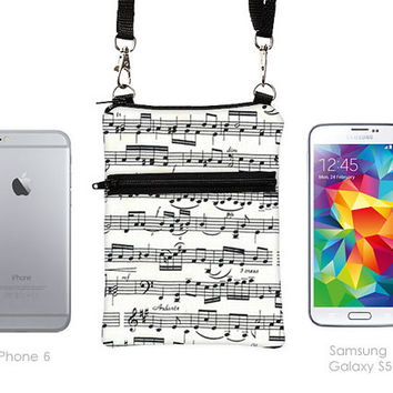Cell Phone Bag, Samsung Galaxy S4 Crossbody, iPhone 6 5 Zipper Sling Bag, Smartphone Purse,  Mini Cross Body Bag  - music notes black white
