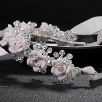 CREYIJ6 new red white flower headbands bridal head accessories wedding crystal bride wreath hair jewellery  Hair Sticks