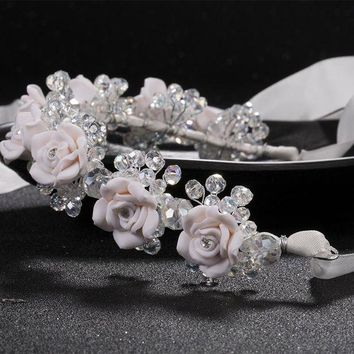 CREYONFI new red white flower headbands bridal head accessories wedding crystal bride wreath hair jewellery  Hair Sticks