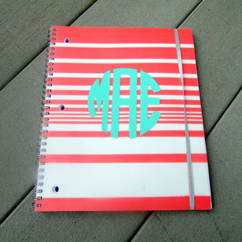 Pink and White Striped Monogram Notebook for Back to School, College, and Work!