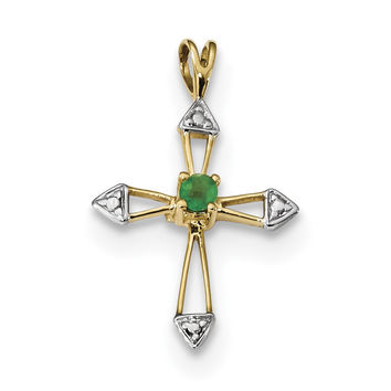 14k w/Rhodium Emerald Open Cross Pendant XR1550E