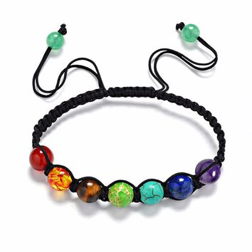 DIEZI Yoga Jewelry 8mm Beads Muticolor Bracelets Lava 7 Chakra Healing Balance Bracelet for Women Men Rope Bracelets & Bangles