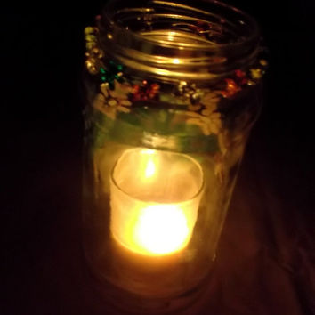 Upcycled Recycled Hand Painted Multicolor Daisy Glass Jar Garden Fairy Solar Light or Indoor Candle Holder with Wire Wrapped Daisy Beads