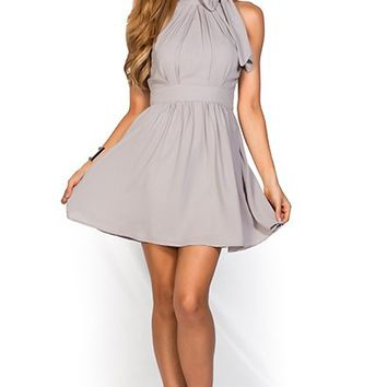 Estelle Gray Fit and Flare Chiffon Halter Party Dress