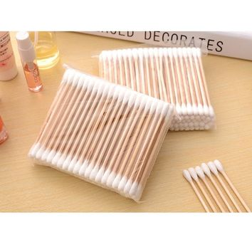 200Pcs/set Women Beauty Cosmetic Makeup Double Head Cotton Wood Handle Swab Buds Sticks Nose Ears Cleaning Health Care Tools