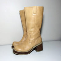 90s tan leather platform boots size 8