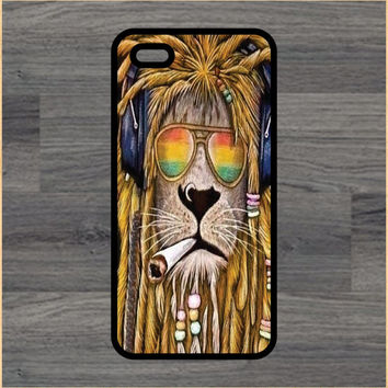 Rasta Lion Smoking Art Print Cell Phone Case iPhone 4/4s 5/5c 6/6+ Case and Samsung Galaxy S3/S4/S5