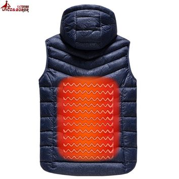 UNCO&BOROR Upgraded Men Outdoor USB Infrared Heating Vest Jacket Winter Carbon Fiber Electric Thermal Clothing Waistcoat