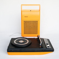 Vintage Record Player / Portable Phillips 133 / Retro Space Age 70's Vinyl Player / Pop Yellow Orange