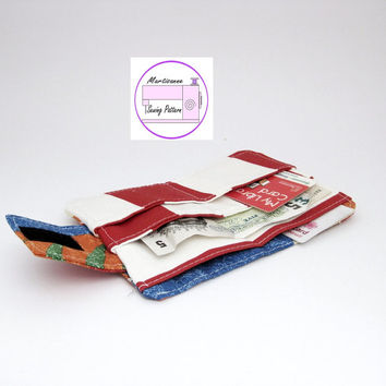 Wallet sewing pattern ,purse pdf, instant download, easy sewing project ,card wallet tutorial