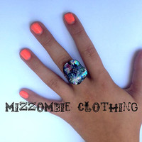 OOAK  Fused Dichroic Glass   Ring  adjustable ring, silver plated ooak 1 available      rainbow
