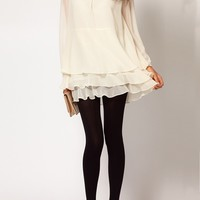 Creamy-white Cascading Ruffle Long Sleeve Chiffon Dress