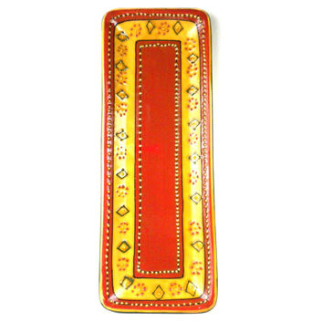 Handmade Hand-painted Ceramic Long Platter  Red