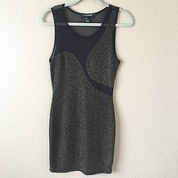 Black And Gold With Mesh Back Dress By Forever21 Size L