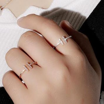 AAA Quality Fashion Double T Knuckle Ring Micro Mosaic Premium Zircon Crystals Opening Thin Tail Rings for Women Gift