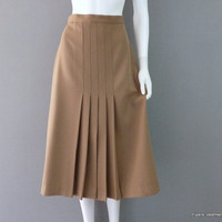Brown Pleated Skirt 1970s Panther School Skirt Work Skirt Womens Medium Large Skirt Mid-Calf Skirt Polyester Skirt