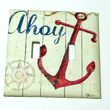 Double Light Switch Cover - Light Switch PlateAhoy Anchor Nautical