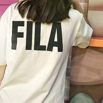 DCCKR2 FILA 2018 men and women sports casual breathable couple T-shirt F-XMCP-YC white