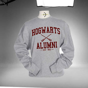 Harry Potter Hogwarts Alumni Sweatshirt Grey and White Color Unisex Sweatshirts