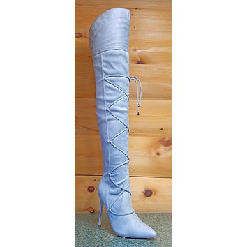 """So Me Pointy Toe Strap Lace OTK Thigh High Boots 4"""" Stiletto Heel 5.5-7 Gray"""