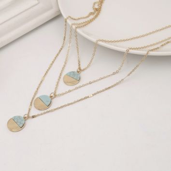 Three Layer Circle Turquoise Stone Necklace