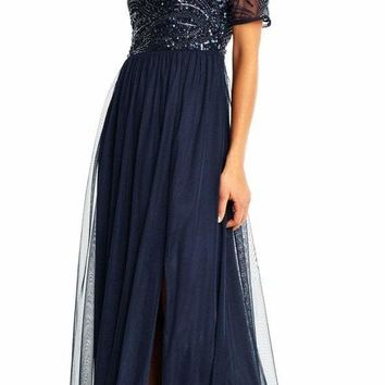 Adrianna Papell - AP1E202502 Bead Embellished Sheer A-Line Gown