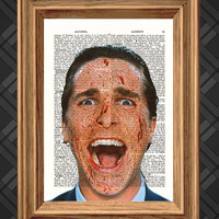 American Psycho - Dictionary Art Print, Up-cycled Antique Book Art Page, Wall Decor, Wall Art , Mixed Media Collage