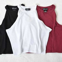 Women Summer Tight 100% Cotton Elastic Crop Tops Cute Sleeveless T-shirts Lady Sexy Stretchable Cropped Tees 5 colors