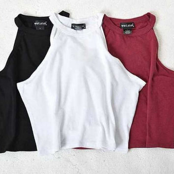 2016 New Women Summer Tight 100% Cotton Elastic Crop Tops Cute Sleeveless T-shirts Lady Sexy Stretchable Cropped Tees 5 colors