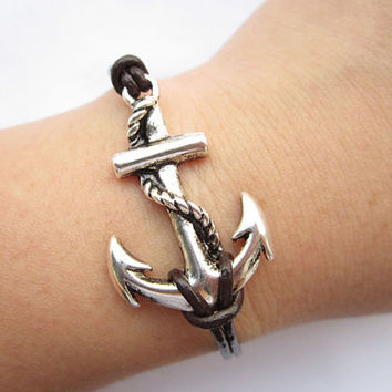 Anchor Bracelet---antique silver big anchor bracelet &brown leather chain