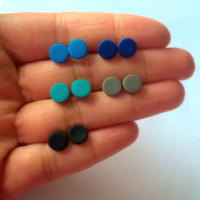 Five Sets of Matte Black Studs Unisex Small Post Studs blue black grey